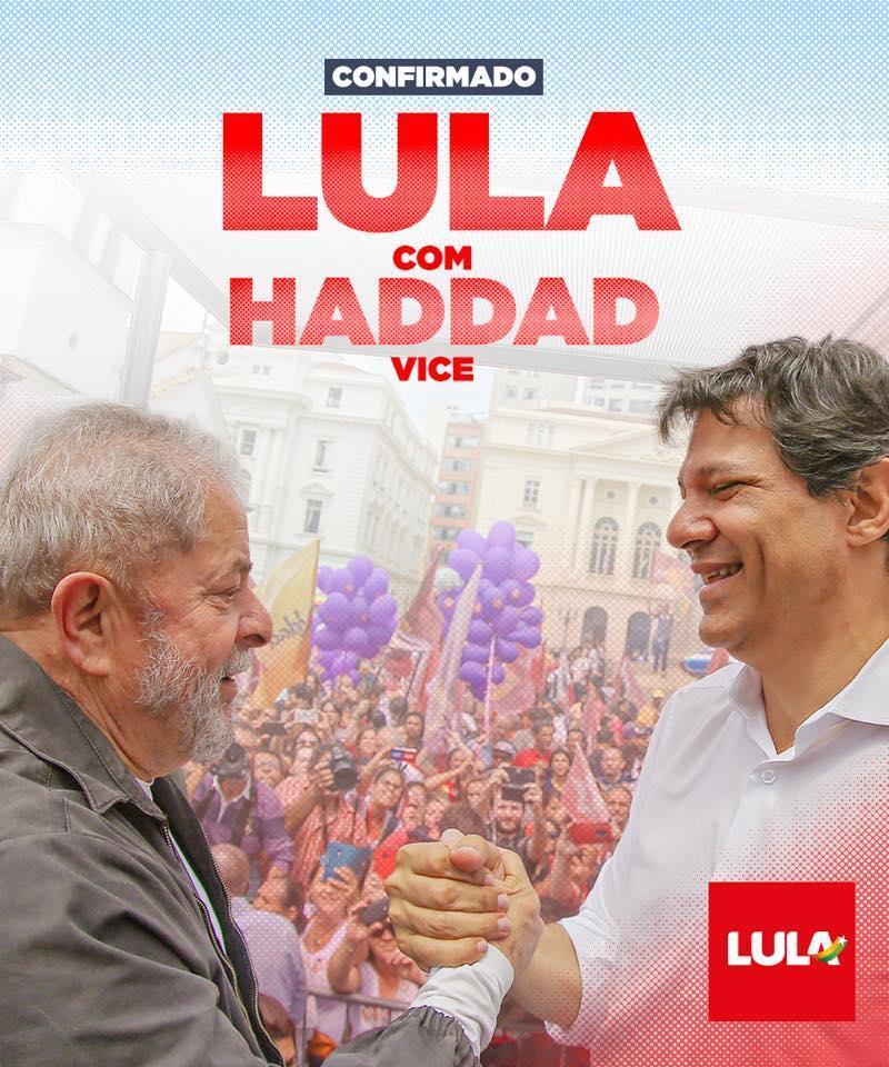 PT anuncia Haddad como vice na chapa de Lula e acordo com o PCdoB