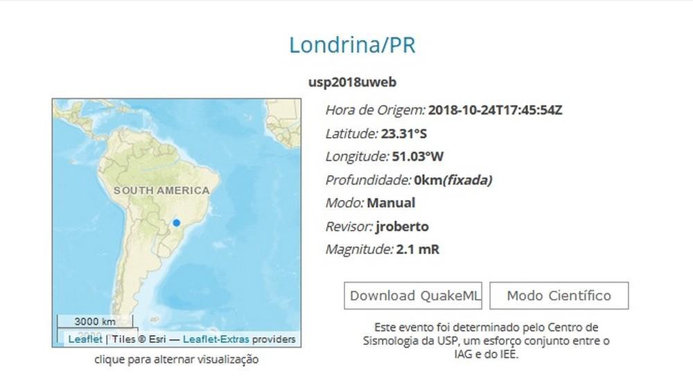 Região de Londrina tem tremor de 2,1 graus na escala Richter