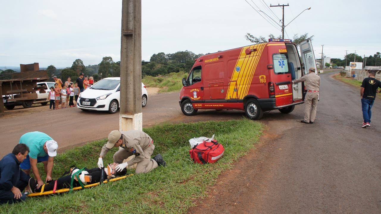 Acidente entre moto e caminhão é registrado em Laranjeiras do Sul