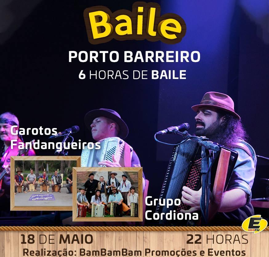 Neste sábado (18) em Porto Barreiro tem Grupo Cordiona e Garotos Fandangueiros do Paraná