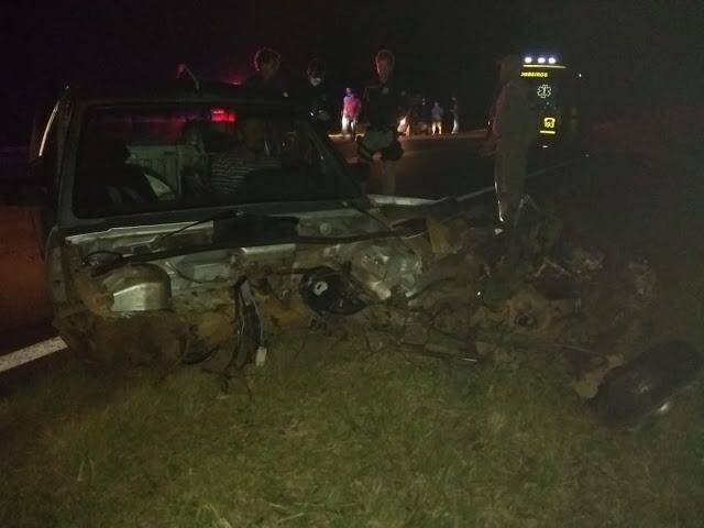 Grave acidente entre dois veículos na BR 158 em Laranjeiras do Sul