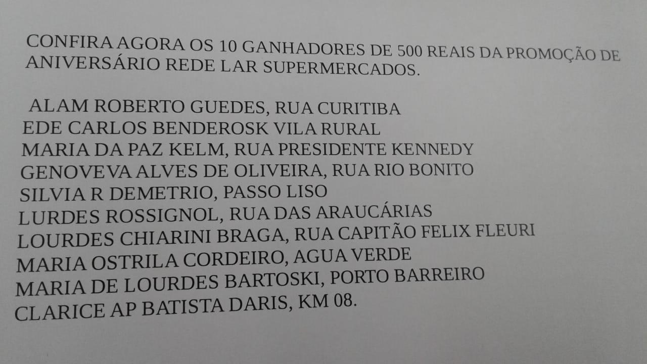 Ganhadores da promoção de aniversário da Rede Lar Supermercados