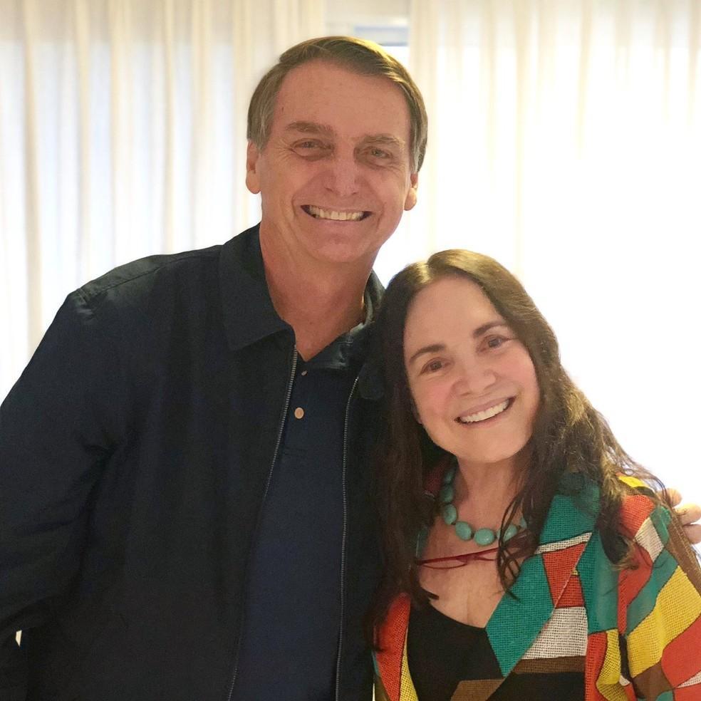 A atriz Regina Duarte visitou, em outubro de 2018, o então candidato do PSL à Presidência, Jair Bolsonaro — Foto: Reprodução/Twitter