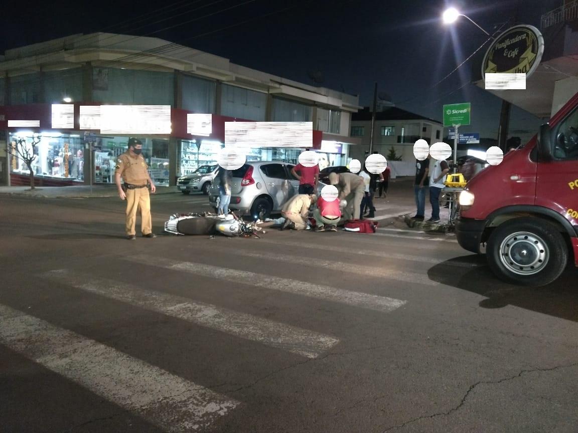 Grave acidente é registrado no centro de Laranjeiras do Sul