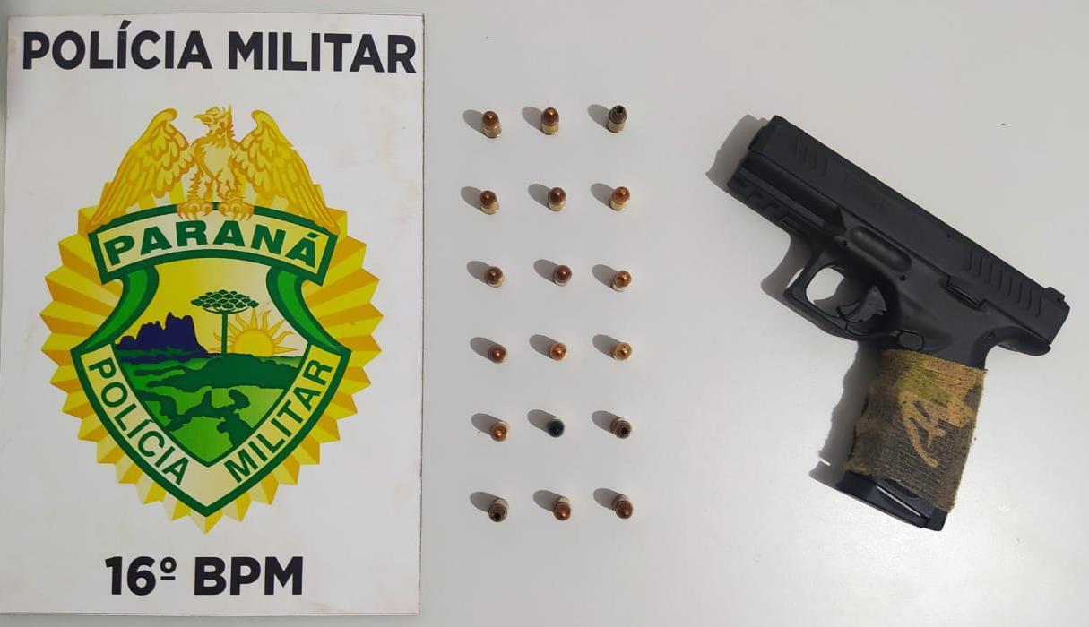Policia militar apreende arma de fogo com jovem de 27 anos em Candói.